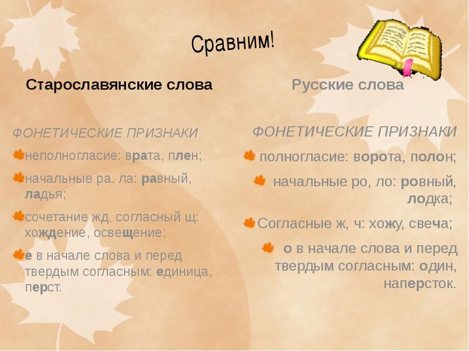 Сравним! Старославянские слова ФОНЕТИЧЕСКИЕ ПРИЗНАКИ неполногласие: врата, пл...