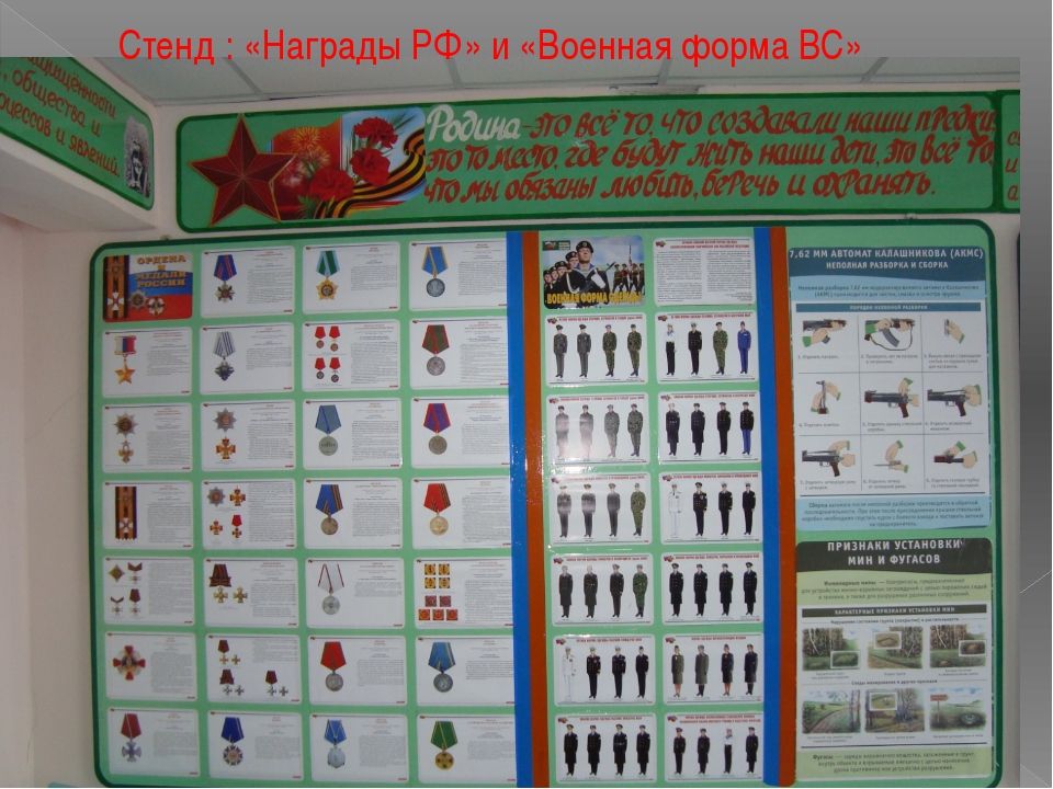 Стенд : «Награды РФ» и «Военная форма ВС»