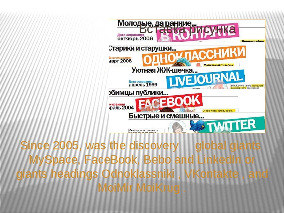 Since 2005, was the discovery global giants MySpace, FaceBook, Bebo and Linke...