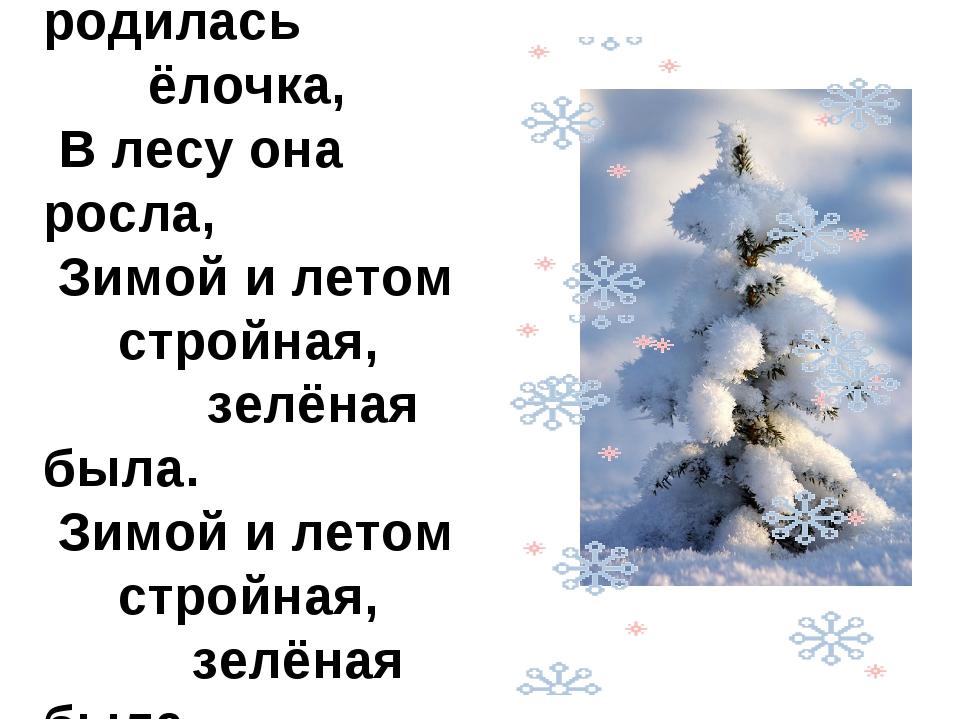 1.В лесу родилась ёлочка, В лесу она росла, Зимой и летом стройная, зелёная б...