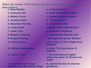 Match the names of the famous people with their achievements and descriptions