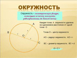 Каждая точка А окружности удалена на одинаковом расстоянии от одной точки О О