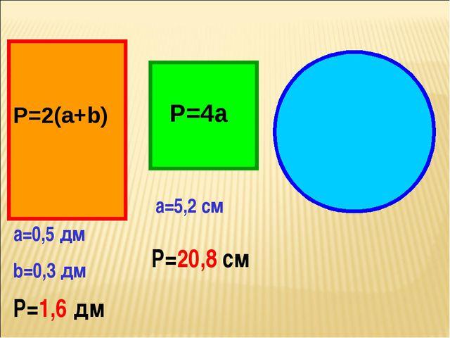 Р=2(а+b) Р=4а а=0,5 дм b=0,3 дм Р=1,6 дм а=5,2 см Р=20,8 см