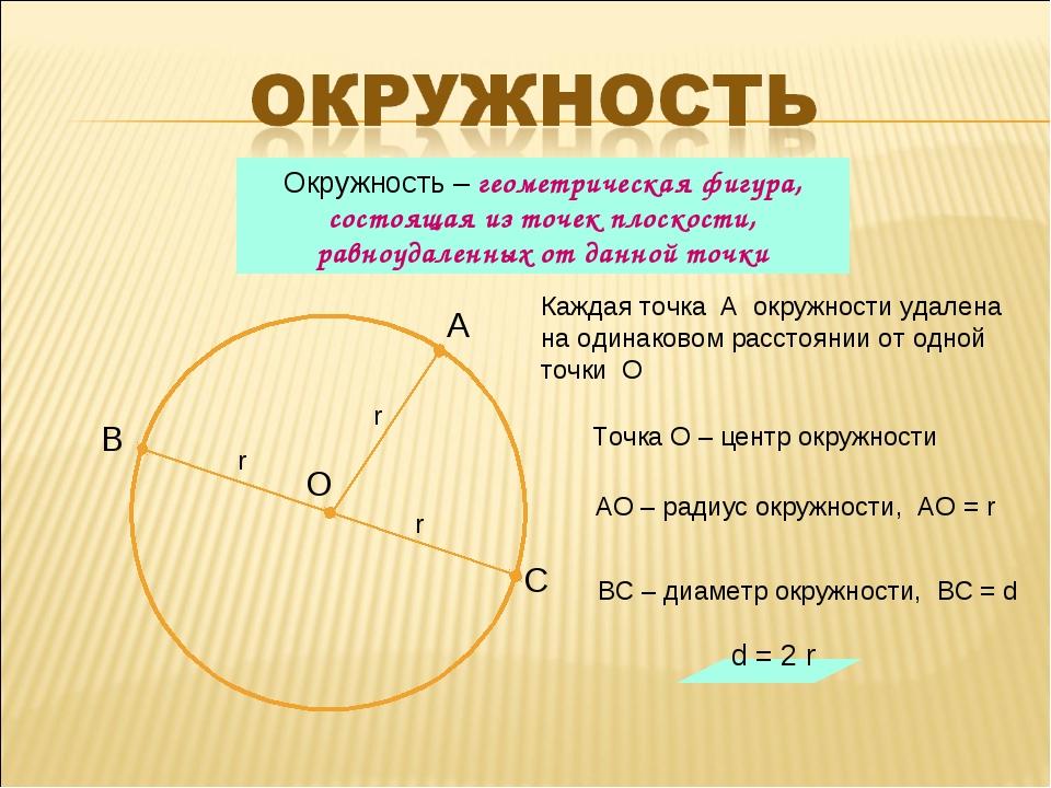 Каждая точка А окружности удалена на одинаковом расстоянии от одной точки О О...