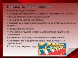 Избирательный процесс Назначение даты выборов Образование избирательных окру