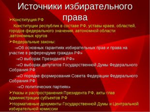 Источники избирательного права Конституция РФ Конституции республик в составе