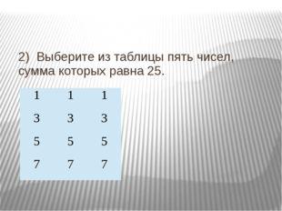 2) Выберите из таблицы пять чисел, сумма которых равна 25. 1 1 1 3 3 3 5 5 5