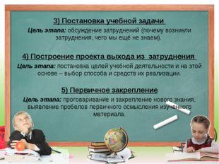 3) Постановка учебной задачи Цель этапа: обсуждение затруднений (почему возни