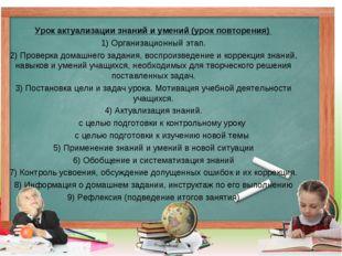 Урок актуализации знаний и умений (урок повторения) 1) Организационный этап.