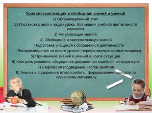 Урок систематизации и обобщения знаний и умений 1) Организационный этап. 2)