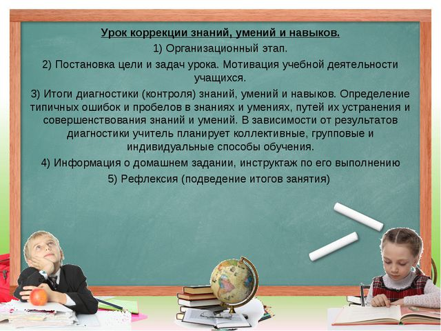 Урок коррекции знаний, умений и навыков. 1) Организационный этап. 2) Постанов...
