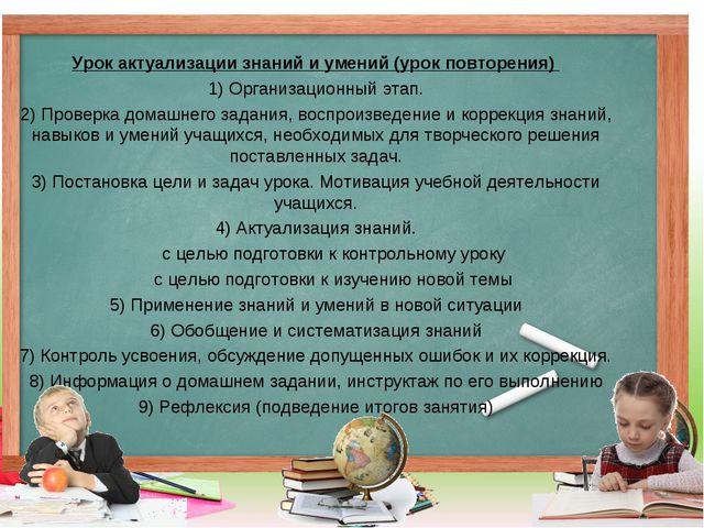 Урок актуализации знаний и умений (урок повторения) 1) Организационный этап....