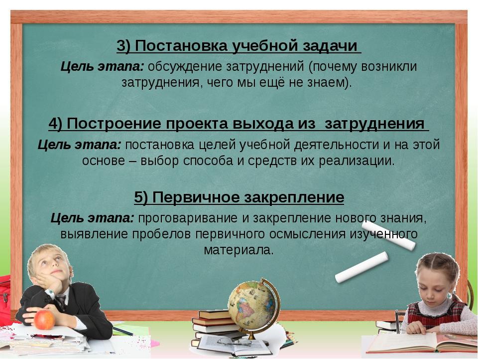 3) Постановка учебной задачи Цель этапа: обсуждение затруднений (почему возни...