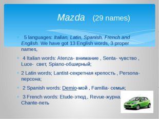 5 languages: Italian, Latin, Spanish, French and English. We have got 13 Eng