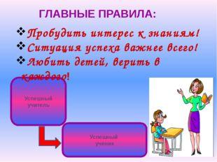 ГЛАВНЫЕ ПРАВИЛА: Успешный учитель Успешный ученик Пробудить интерес к знаниям