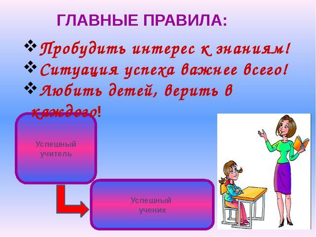 ГЛАВНЫЕ ПРАВИЛА: Успешный учитель Успешный ученик Пробудить интерес к знаниям...