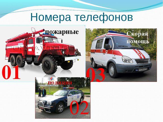 Номера телефонов 01 03 02 пожарные Скорая помощь полиция