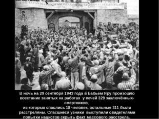 В ночь на 29 сентября 1943 года в Бабьем Яру произошло восстание занятых на р