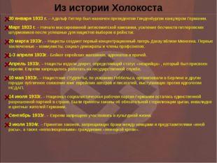 Из истории Холокоста 30 января 1933 г. – Адольф Гитлер был назначен президент