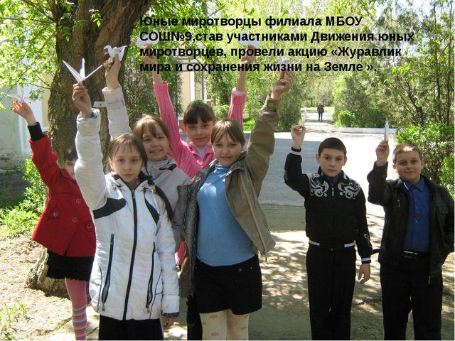 Юные миротворцы филиала МБОУ СОШ№9,став участниками Движения юных миротворце...