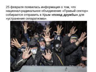 25 февраля появилась информация о том, что национал-радикальное объединение «
