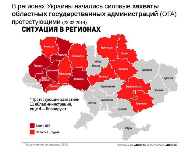 В регионах Украины началисьсиловые захваты областных государственных админис...
