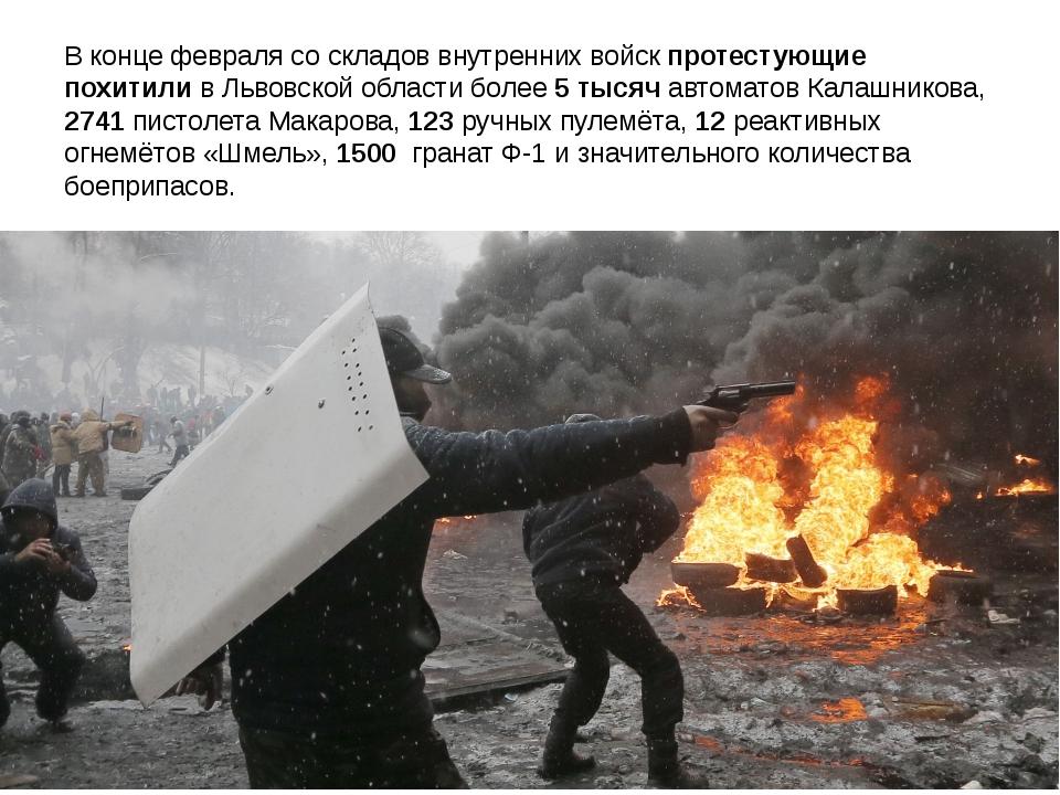 В конце февраля со складов внутренних войск протестующие похитили в Львовской...