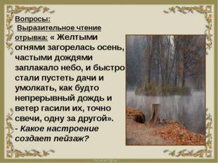 Вопросы: Выразительное чтение отрывка: « Желтыми огнями загорелась осень, ча