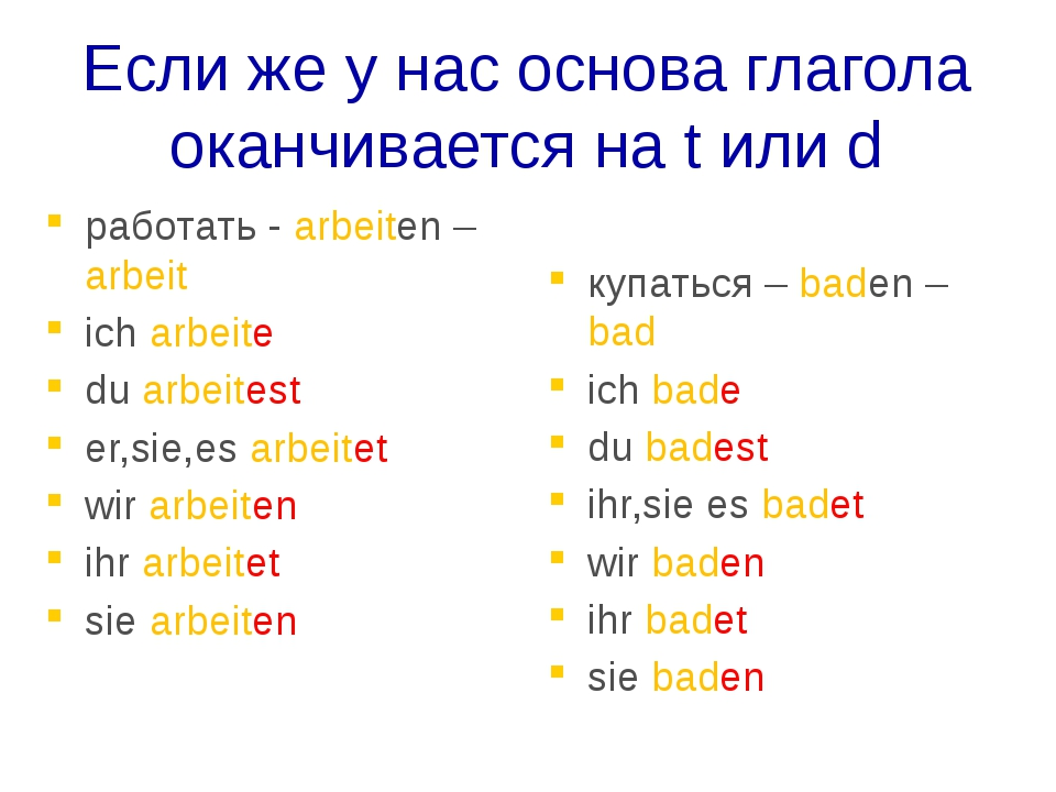 Если же у нас основа глагола оканчивается на t или d работать - arbeiten – ar...