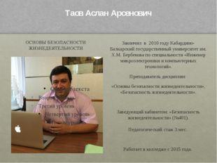 Таов Аслан Арсенович ОСНОВЫ БЕЗОПАСНОСТИ ЖИЗНЕДЕЯТЕЛЬНОСТИ Закончил в 2010 г