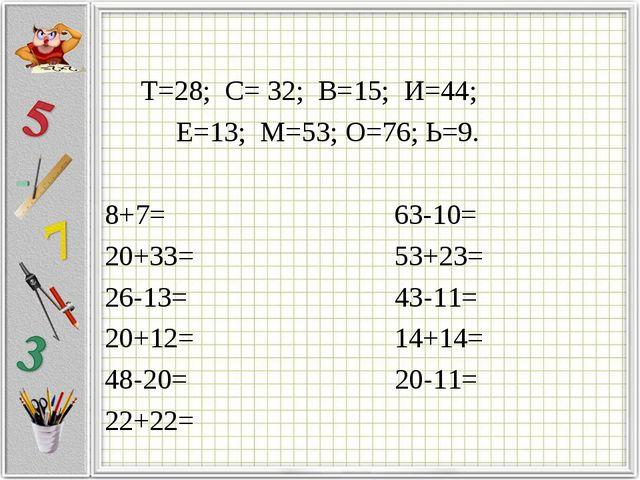 Т=28; С= 32; В=15; И=44; Е=13; М=53; О=76; Ь=9. 8+7= 63-10= 20+33= 53+23= 26...