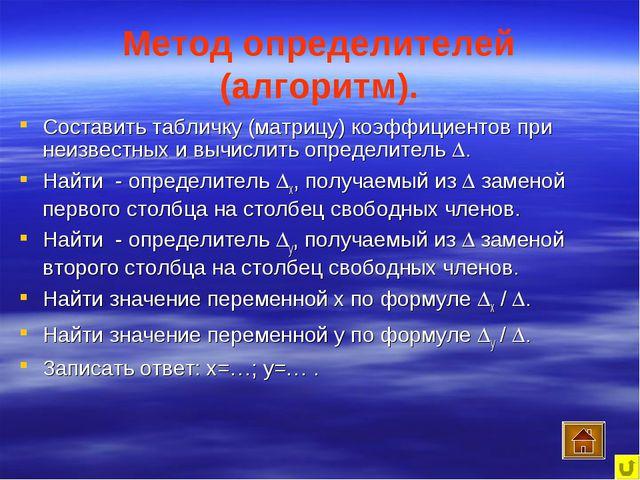 Метод определителей (алгоритм). Составить табличку (матрицу) коэффициентов пр...
