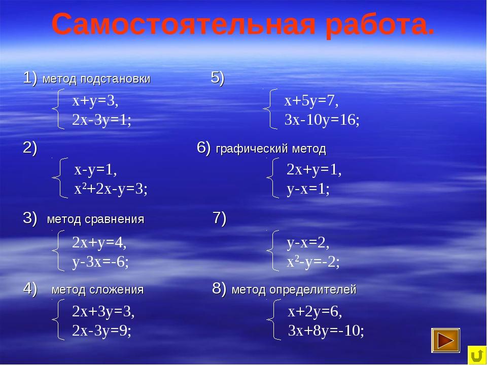 Самостоятельная работа. 1) метод подстановки 5) 2) 6) графический метод 3) ме...