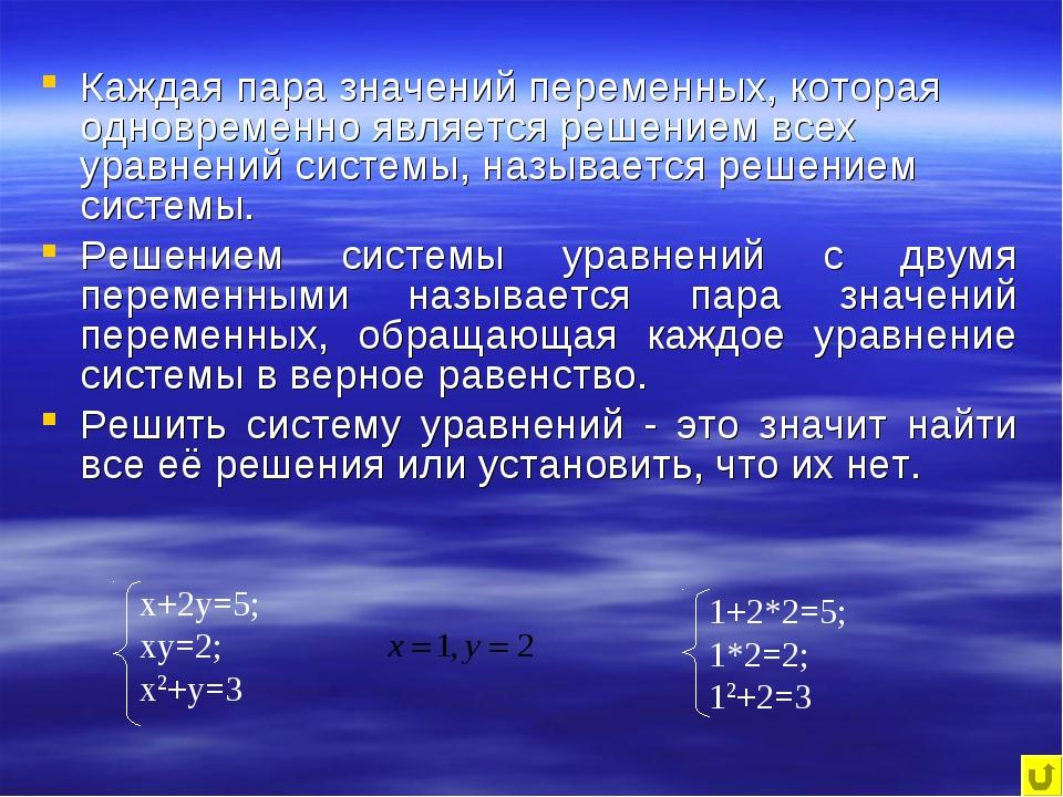 Каждая пара значений переменных, которая одновременно является решением всех...