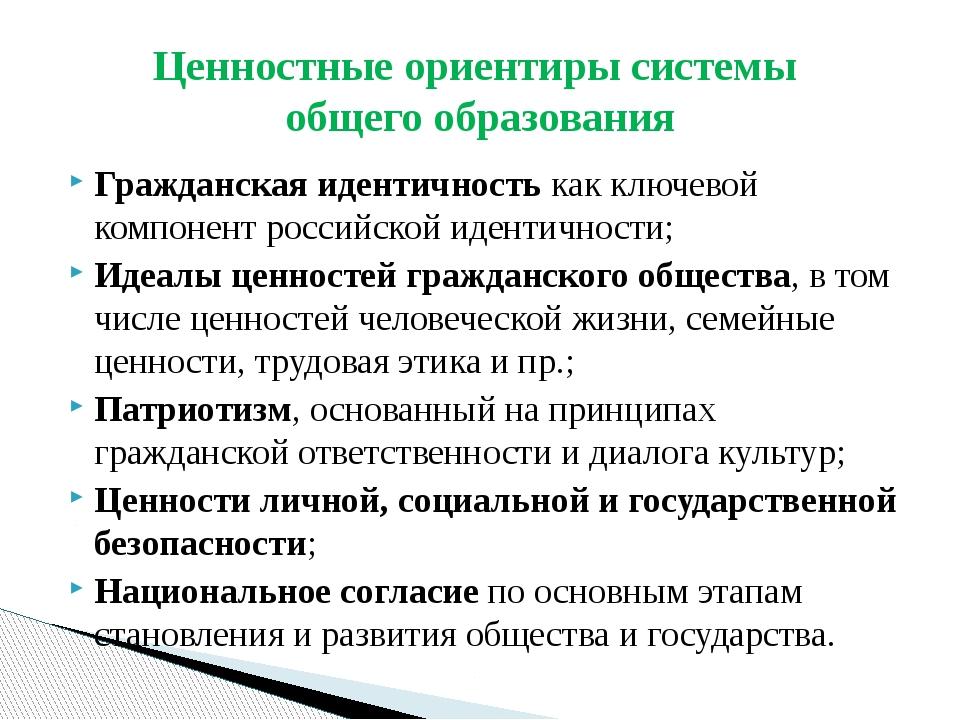 Гражданская идентичность как ключевой компонент российской идентичности; Идеа...