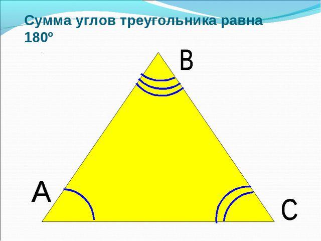 Сумма углов треугольника равна 180º