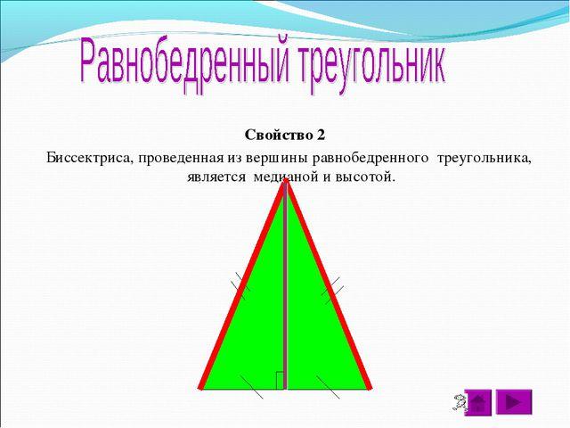 Свойство 2 Биссектриса, проведенная из вершины равнобедренного треугольника,...