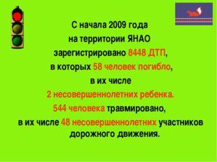 С начала 2009 года на территории ЯНАО зарегистрировано 8448 ДТП, в которых 58