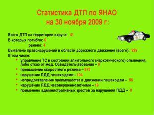 Статистика ДТП по ЯНАО на 30 ноября 2009 г: Всего ДТП на территории округа:4