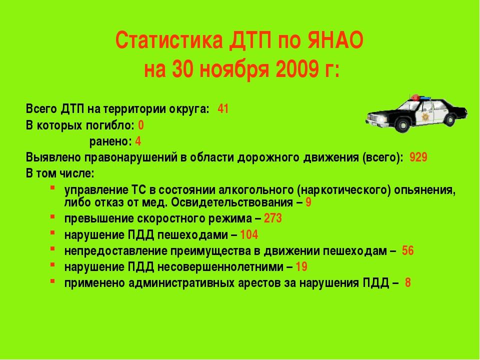 Статистика ДТП по ЯНАО на 30 ноября 2009 г: Всего ДТП на территории округа:4...
