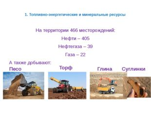 1. Топливно-энергетические и минеральные ресурсы На территории 466 месторожде