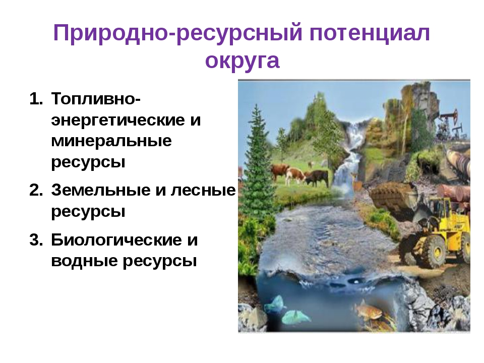 Природно-ресурсный потенциал округа Топливно-энергетические и минеральные рес...