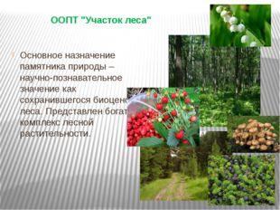 "ООПТ ""Участок леса"" Основное назначение памятника природы – научно-познавател"