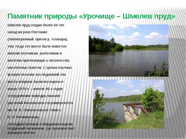 Памятник природы «Урочище – Шмелев пруд» Шмелев пруд создан более 60 лет наза...