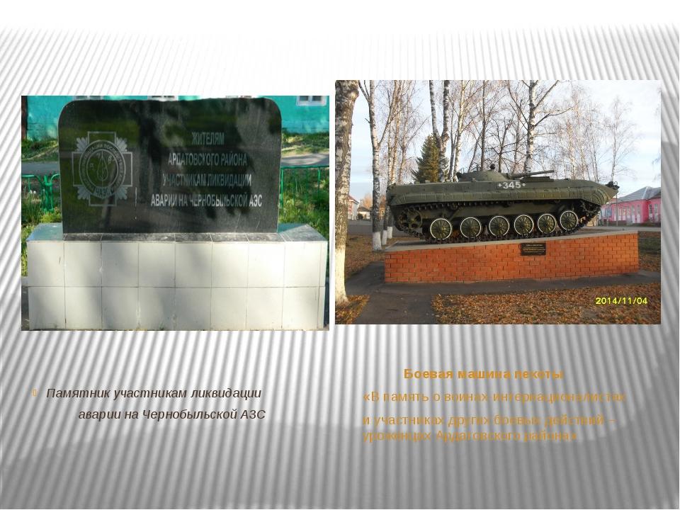 Памятник участникам ликвидации аварии на Чернобыльской АЗС Боевая машина пехо...