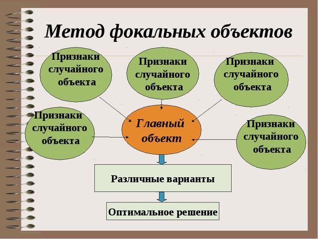 Метод фокальных объектов Главный объект Признаки случайного объекта Признаки...