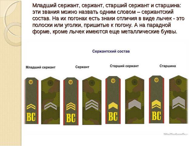 Младший сержант, сержант, старший сержант и старшина: эти звания можно назват...