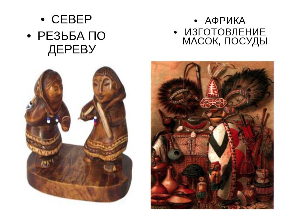 СЕВЕР РЕЗЬБА ПО ДЕРЕВУ АФРИКА ИЗГОТОВЛЕНИЕ МАСОК, ПОСУДЫ