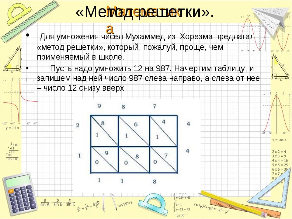 «Метод решетки». Для умножения чисел Мухаммед из Хорезма предлагал «метод реш...
