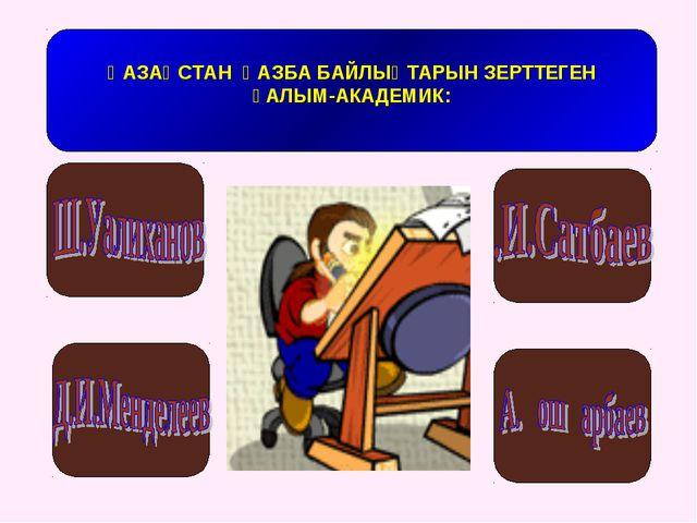 ҚАЗАҚСТАН ҚАЗБА БАЙЛЫҚТАРЫН ЗЕРТТЕГЕН ҒАЛЫМ-АКАДЕМИК: